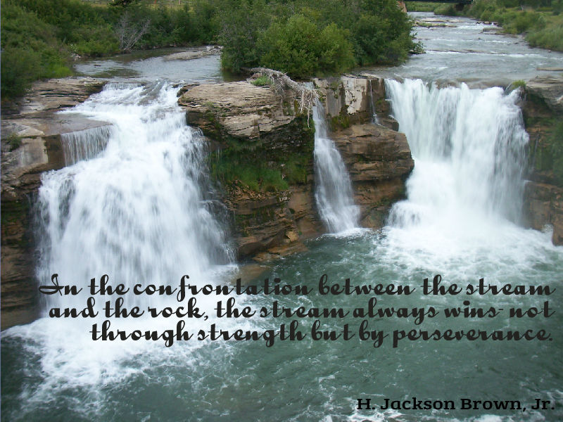 In the confrontation between the stream and the rock the stream always wins not through strength but by perseverance
