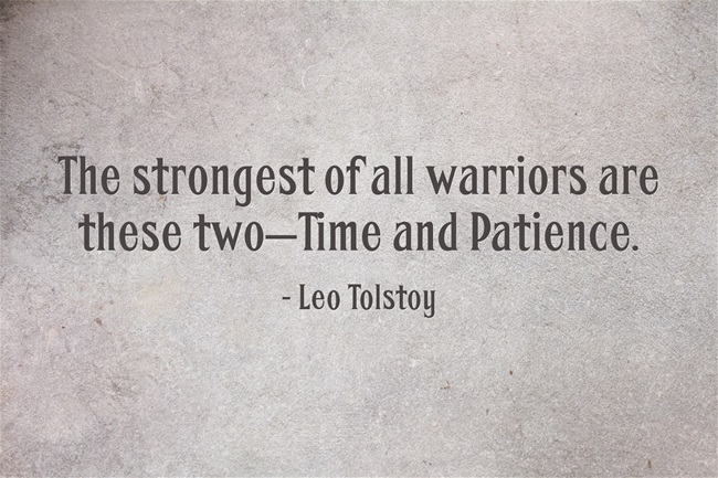The strongest of all warriors are these two, Time and Patience